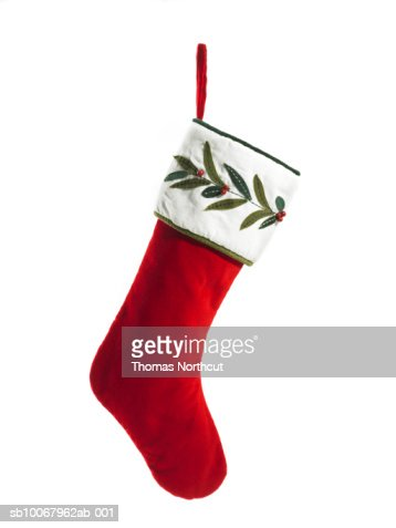 Christmas stocking on white background