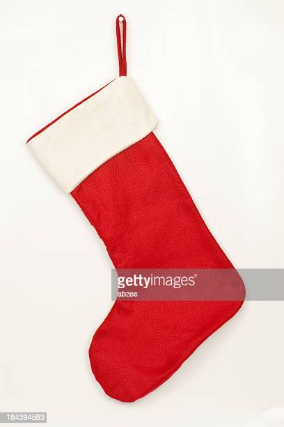 Christmas stocking with shadow on white background