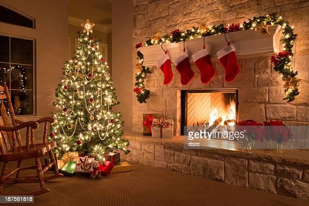クリスマスストッキング、暖炉、木、装飾