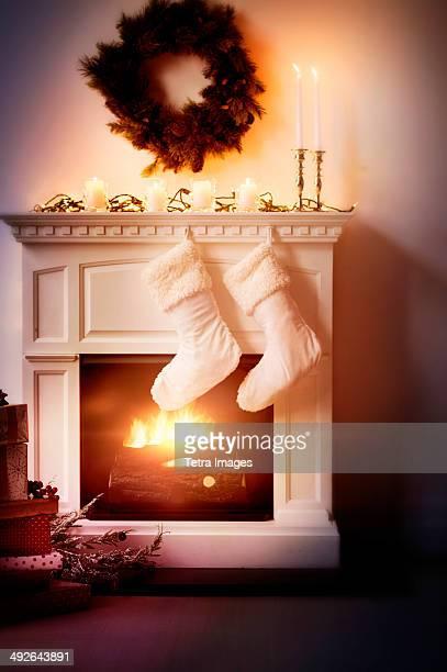 Christmas stockings on fireplace, Jersey City, New Jersey, USA