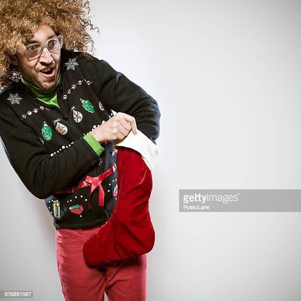 Christmas Sweater Man with Stocking