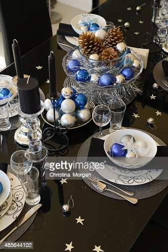 Christmas Table Setting In White Blue Silver And Black