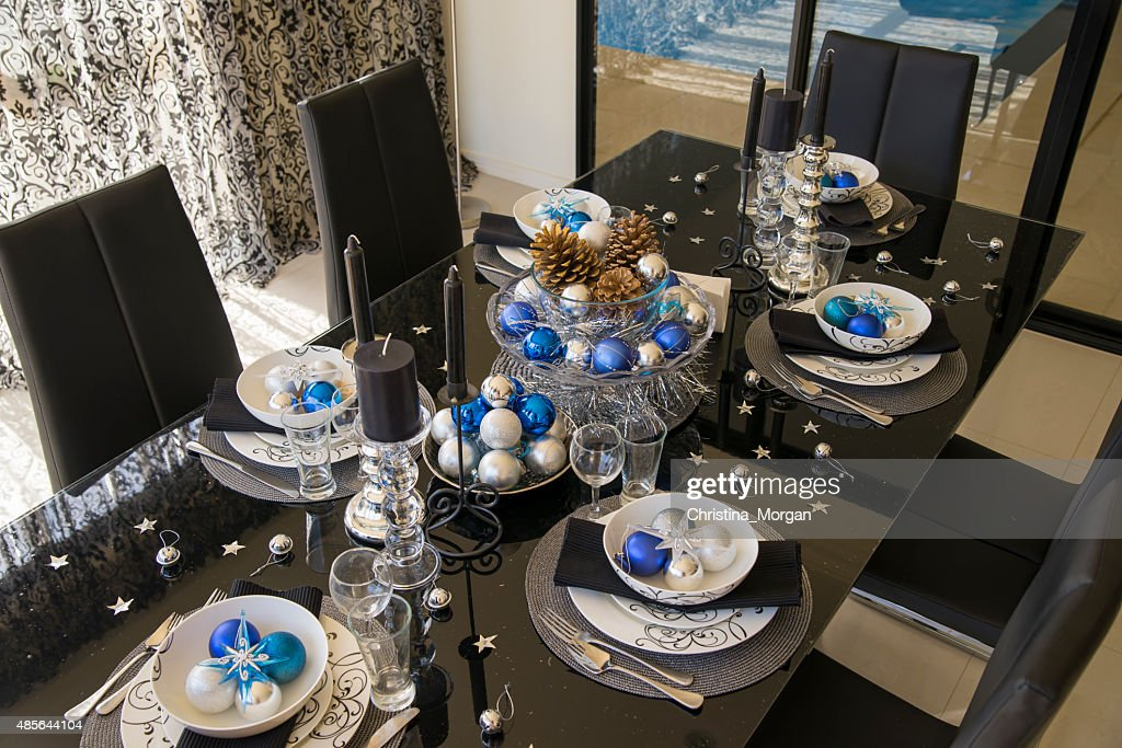 christmas table setting in white blue silver and black colors  Stock Photo & Christmas Table Setting In White Blue Silver And Black Colors Stock ...