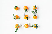 Christmas tangerines, flat lay, top view