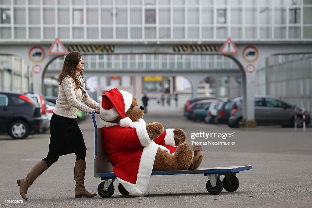 A christmas teddy bear is wheeled along on a trolley at the Steiff stuffed toy factory on November 23, 2012 in Giengen an der Brenz, Germany. Founded by seamstress Margarethe Steiff in 1880, Steiff has been making stuffed teddy bears since the early 20th century ever since her nephew Richard Steiff exhibited the first commercially produced teddy bear in Europe in 1903. Teddy bears are among the most popular children's toys and the company is hoping for a strong Christmas season.