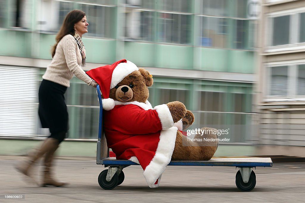 A christmas teddy bear is wheeled along on a trolley at the Steiff stuffed toy factory on November 23 2012 in Giengen an der Brenz Germany Founded by...