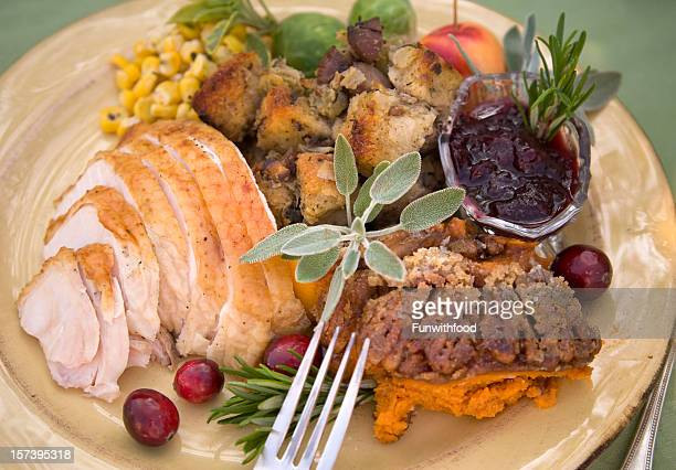 Christmas & Thanksgiving Roast Turkey Holiday Dinner Meal, Food Background