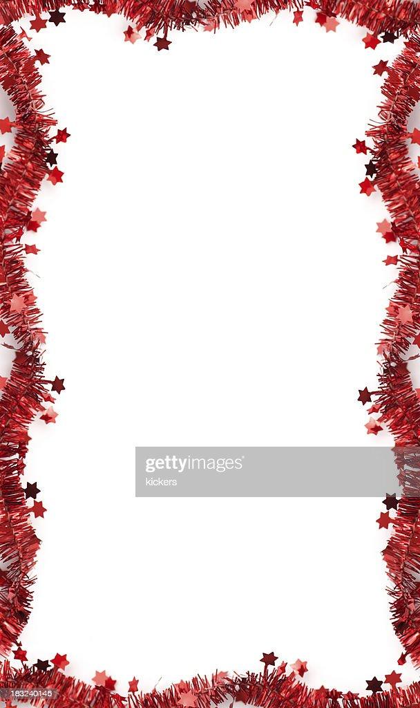 'Christmas tinsel frame, isolated'
