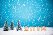 Christmas tree and 2018 New Year background.