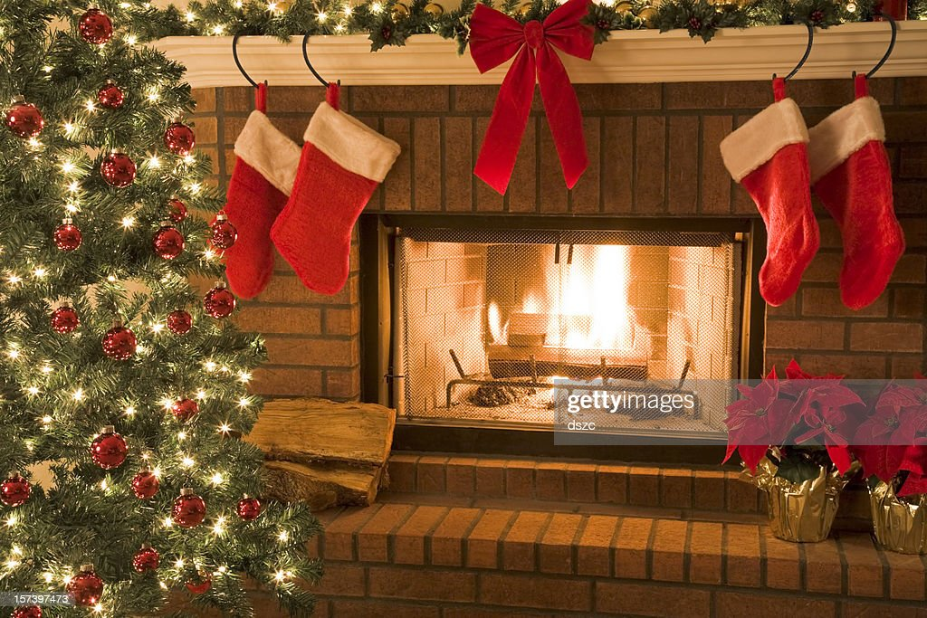 stockings can be hung above the fireplace or decorate Christmas tree Fireplace Mantle with Stockings to Personalize Christmas Ornament (Family of 2) - First Christmas as Mr. and Mrs. - Calliope Designs - 5