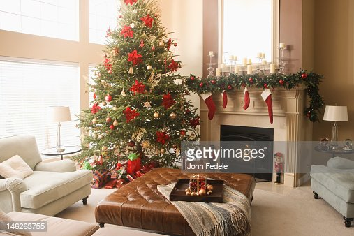 Christmas tree and decorations in living room : Stock Photo