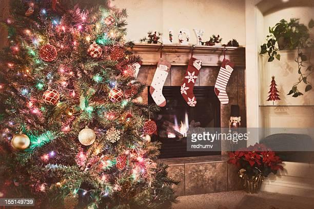 Árbol de Navidad y medias de nailon