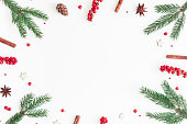 Christmas composition. Frame made of christmas tree branches and red berries on white background. Flat lay, top view, copy space