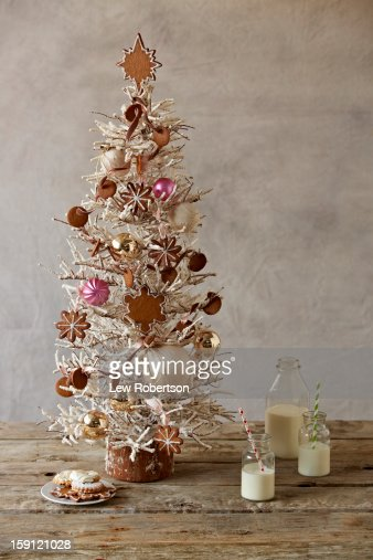 Christmas Tree, Cookies and milk : Stock Photo