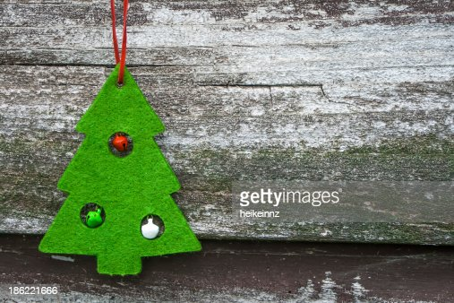 Christmas Tree Decoration on Wood : Stock Photo