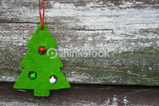 Christmas Tree Decoration on Wood : Stock Photo