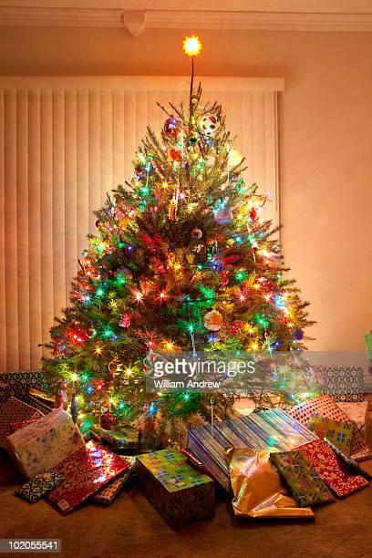 Christmas tree glowing at night