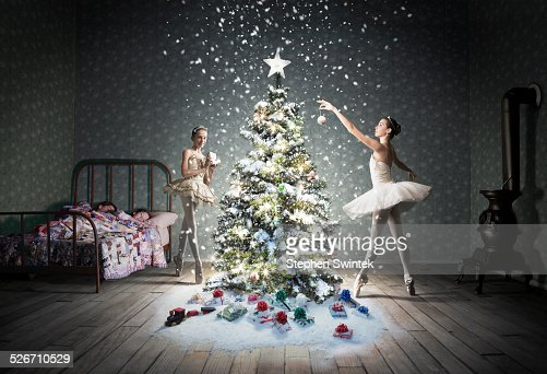 Christmas tree in children's bedroom with snow