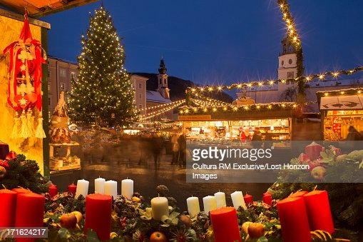 Christmas Tree In Christmas Market Salzburg Austria Stock