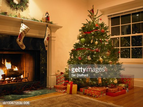 Christmas Tree In Living Room christmas tree in living room stock photo | getty images