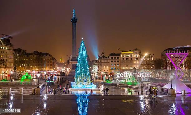 Christmas tree in Trafalgar Square at night