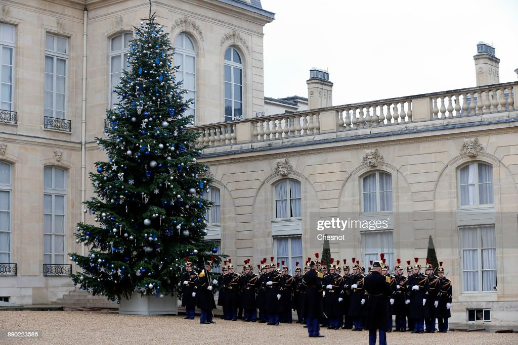 A Christmas tree is displayed in the courtyard of the Elysee Palace during the visit of Tunisian President Beji Caid Essebsi on December 11, 2017 in Paris, France. Beji Caid Essebsi is on an official visit to Paris.