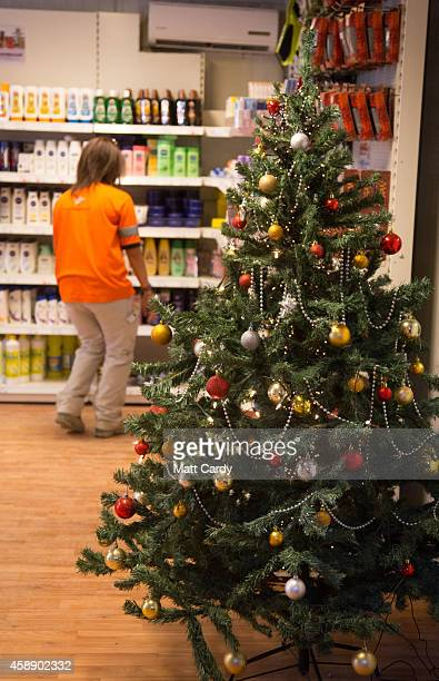 Christmas tree is displayed inside a shop at Kandahar airfield on November 13 2014 in Kandahar Afghanistan Now that British combat operations have...