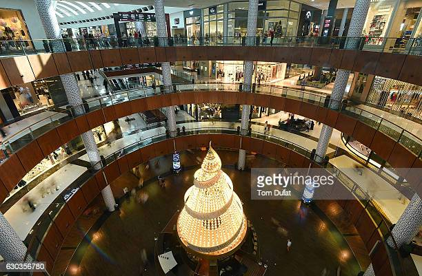 Christmas tree is pictured at Dubai Mall on December 21 2016 in Dubai United Arab Emirates