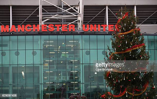 Christmas tree is seen outside the stadium prior to the Premier League match between Manchester United and Tottenham Hotspur at Old Trafford on...