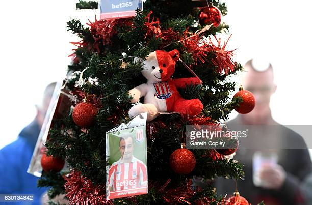 Christmas tree is seen with Stoke City players photographs on prior to the Premier League match between Stoke City and Leicester City at Bet365...