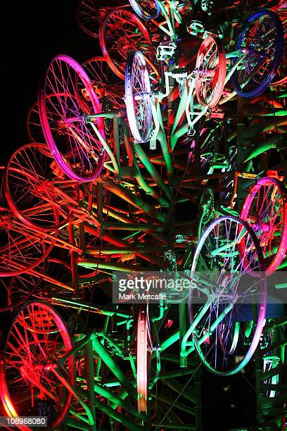Christmas tree made entirely of recycled bicycles is unveiled at the Rocks on November 19 2010 in Sydney Australia The bikes and parts for the tree...