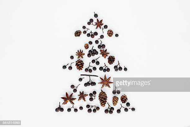 Christmas tree made from pine cones, berries and star anise