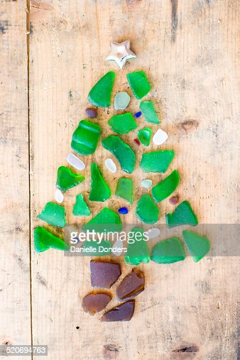 Christmas Tree Made Of Pieces Of Sea Glass Stock Photo