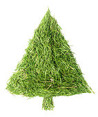 Christmas tree made of spruce needles on isolated white