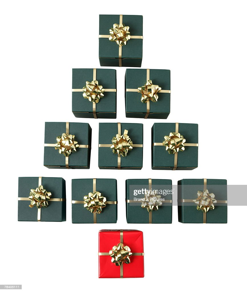 Christmas tree made out of gifts : Stock Photo