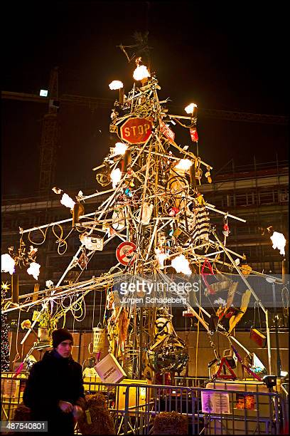 A Christmas tree made out of junk at a Christmas market in Berlin Germany 2011