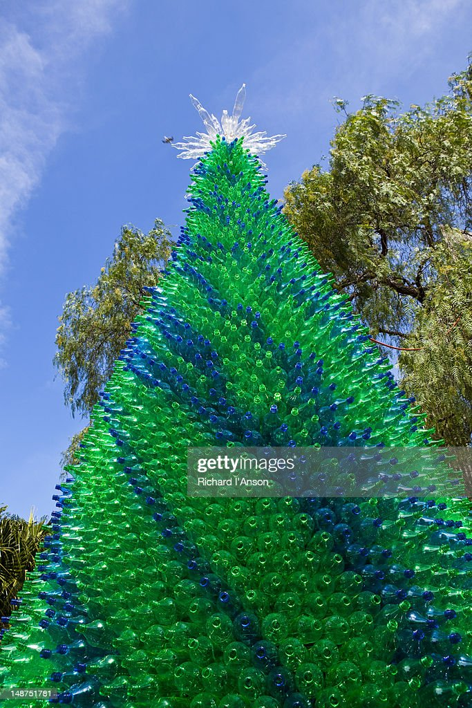 Christmas tree of recycled plastic bottles in the Rocks.