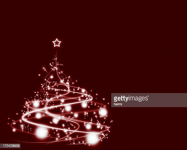 christmas tree on crimson gradient background