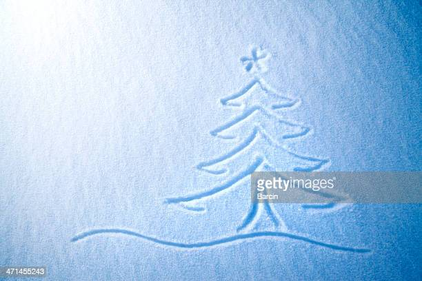 Christmas tree on snow