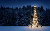 Illuminated christmas tree in the snow at night with copy space