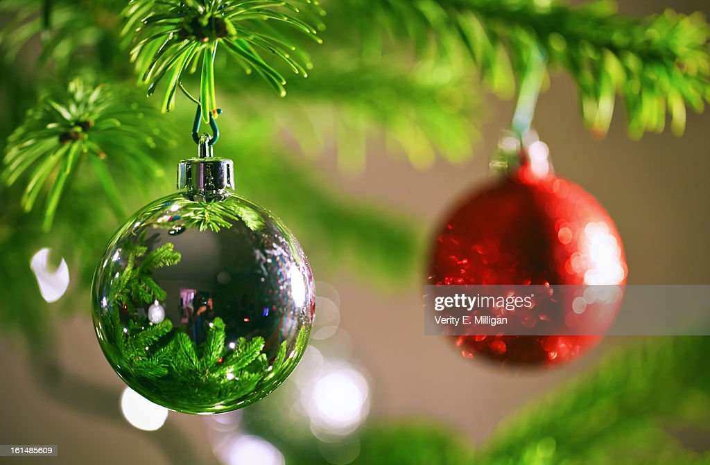Christmas Tree Reflecting in Bauble : Stock Photo