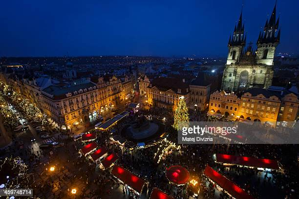 A christmas tree stands at the Christmas market at the Old Town Square on November 30 2014 in Prague Czech Republic Christmas markets traditionally...