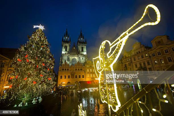 Christmas tree stands at the Christmas market at the Old Town Square on December 1 2014 in Prague Czech Republic Christmas markets traditionally...