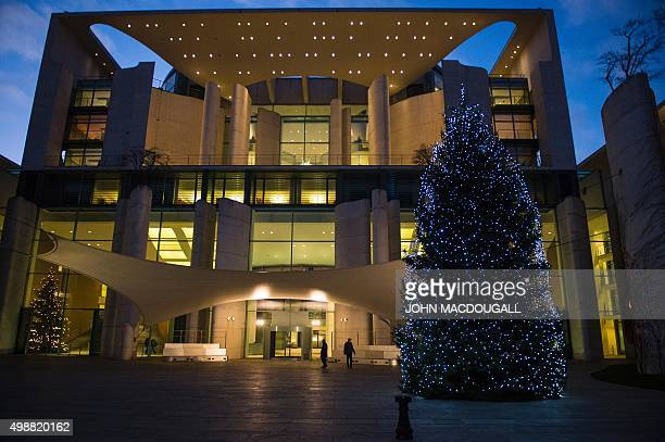 A Christmas tree stands in front of the chancellery building during the annual inauguration of three Christmas trees to mark the festive season at...