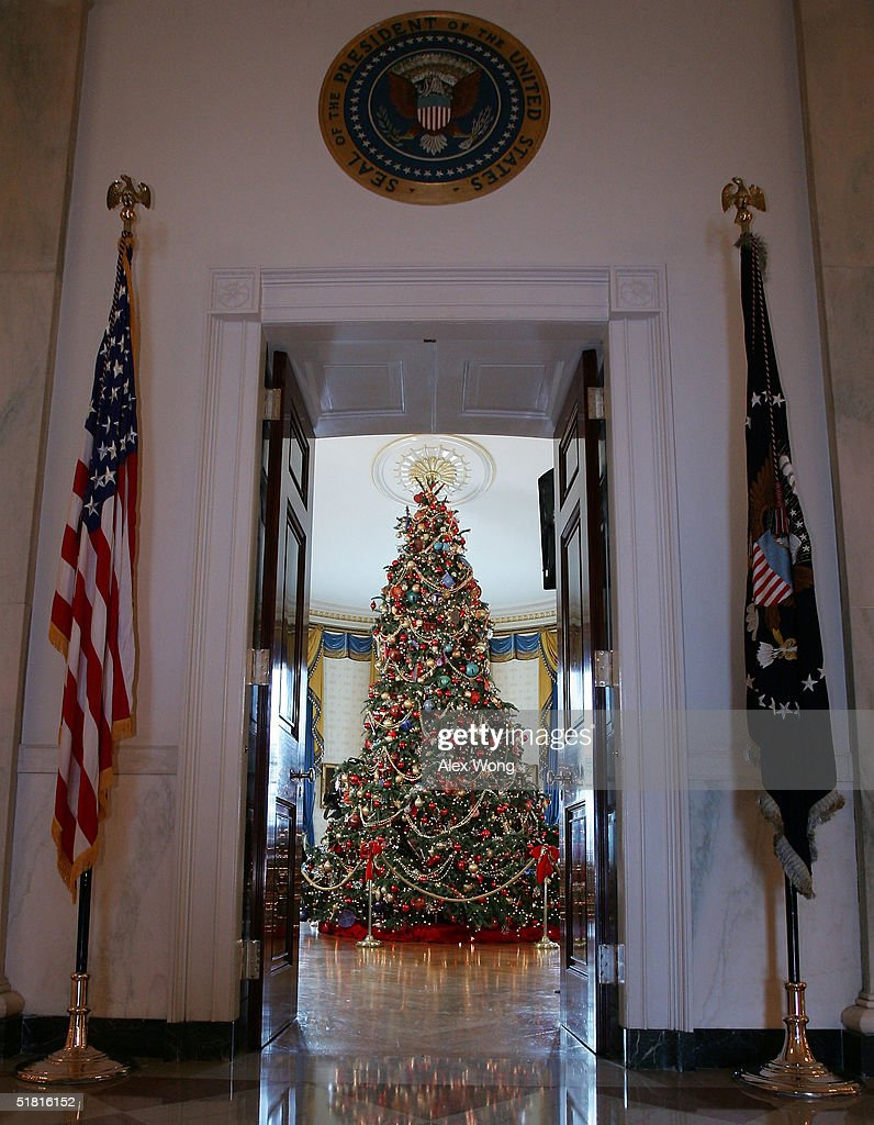 Holiday decorations at the white house are displayed during a press - A Christmas Tree Stands In The Blue Room During A Press Preview Of The White House