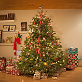 Christmas tree surrounded by gifts