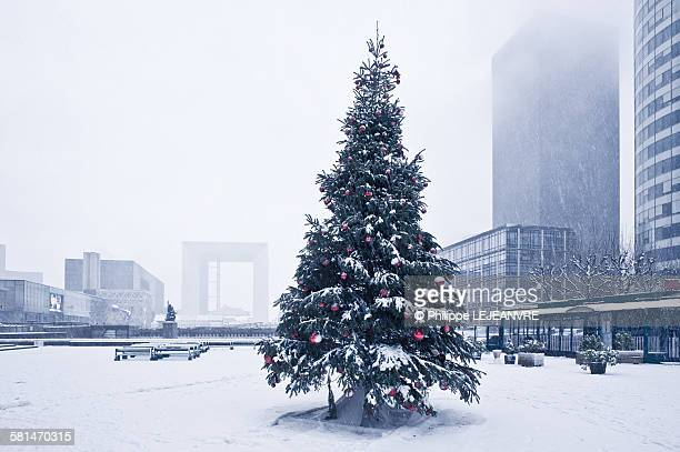 Christmas tree under the snow in La Defense