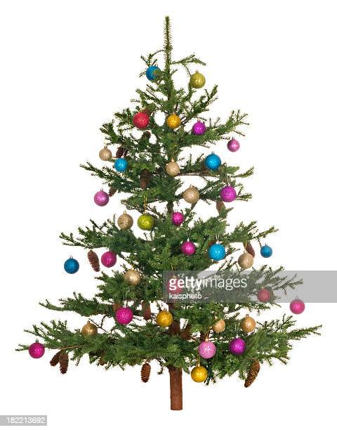 Christmas tree with colorful baubles