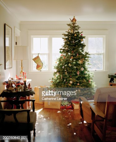 Christmas tree with decoration and presents : Stock Photo
