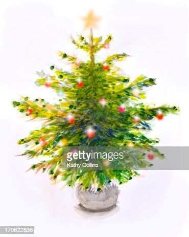 Christmas tree with decorations : Stock Photo